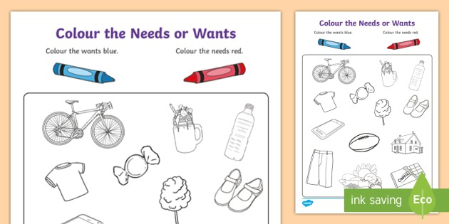 Colour The Needs Or Wants Worksheet
