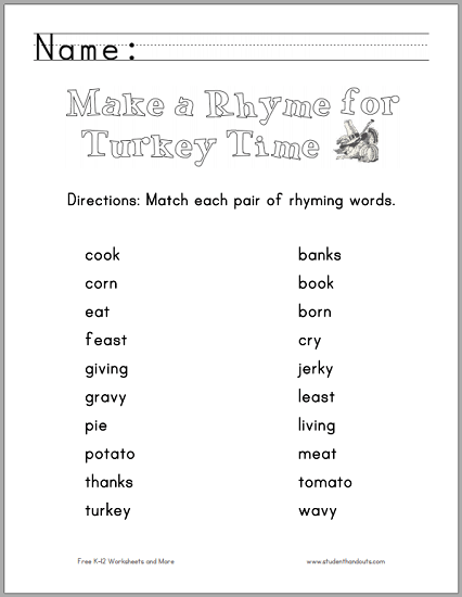 Thanksgiving Rhyming Words Worksheet