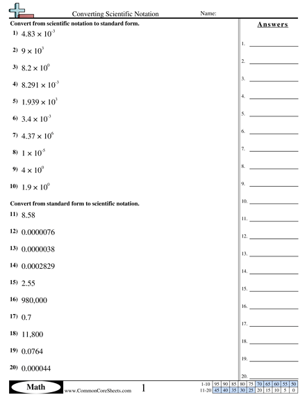 Converting Forms Worksheets
