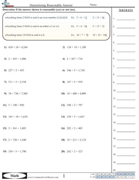 Determining Reasonable Answer Worksheet