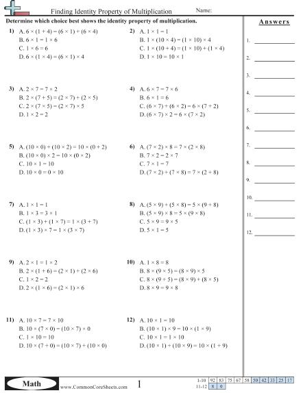 Properties Worksheets