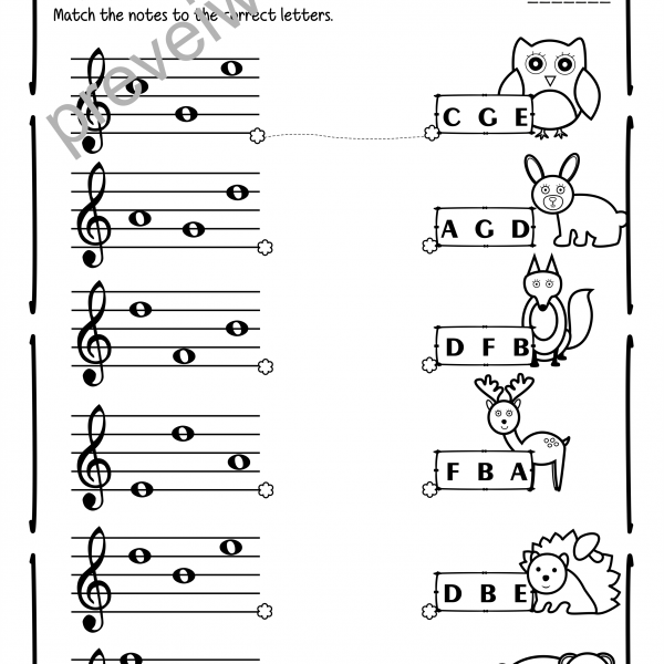 Treble Clef Notes Worksheets