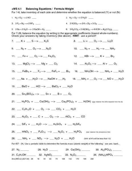 Types Of Reactions Worksheet Answer Key