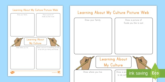 Learning About My Culture Picture Web Worksheet