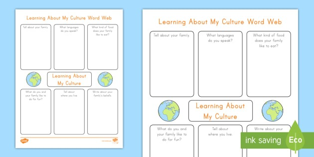 Learning About My Culture Word Web Worksheet