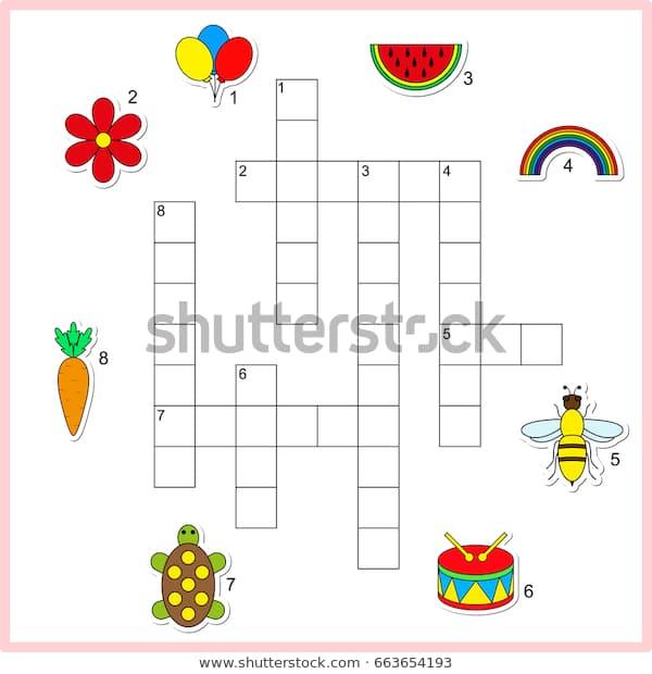Vector Crossword Worksheet Preschool Kids Educational Stock Vector