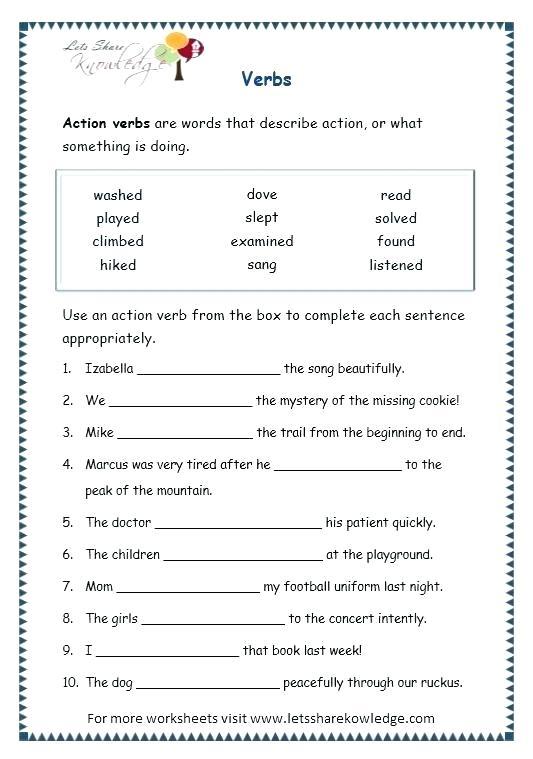 Verb Worksheets 6th Grade – Katyphotoart Com
