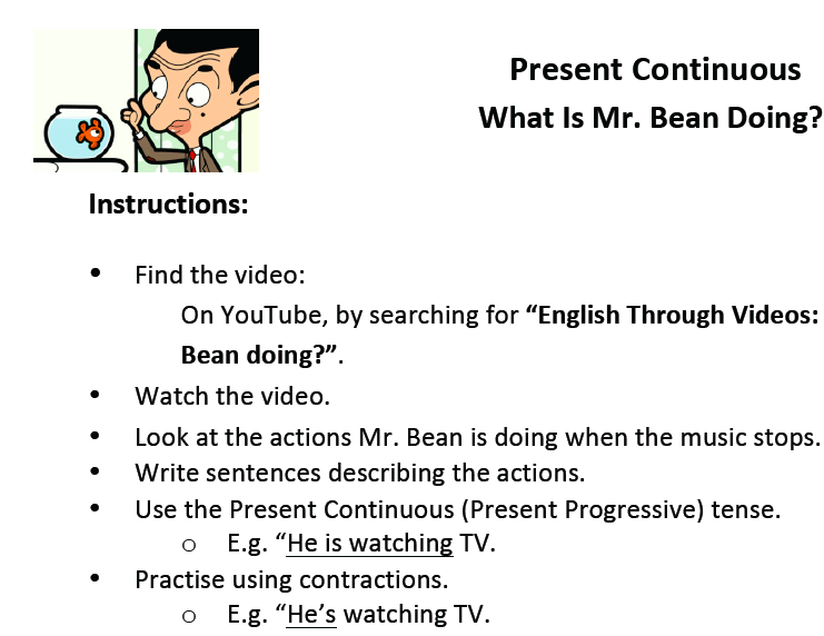 Present Continuous Video Lesson On What Mr Bean Is Doing