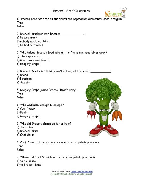 Worksheets For Nutrition Elementary