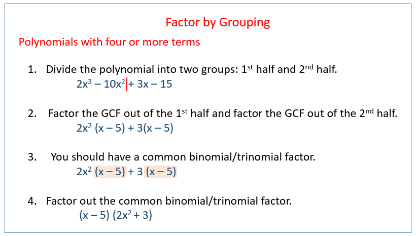 Factoring By Grouping (solutions, Examples, Videos)