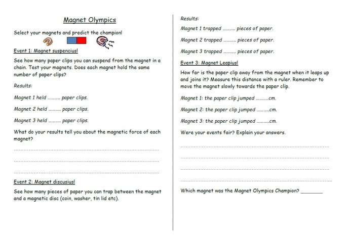 Magnet Olympics Physics Worksheet For Year 3 Science