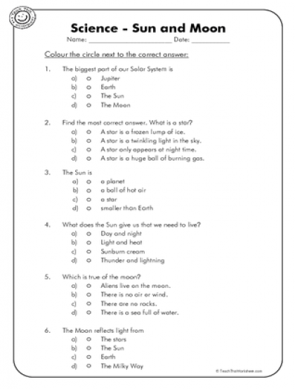 Sun Moon And Earth Worksheets