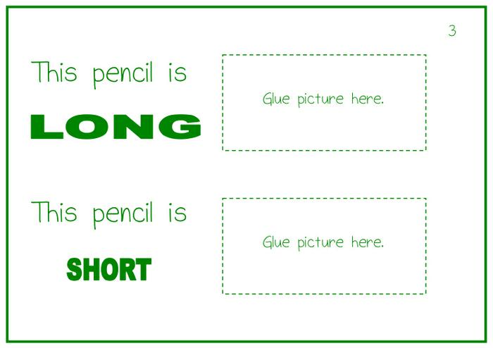 Long And Short Objects Worksheets Kindergarten