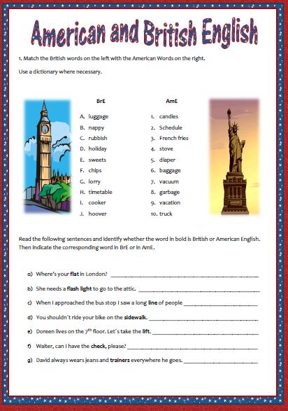 American English Vs British English Worksheet Ii