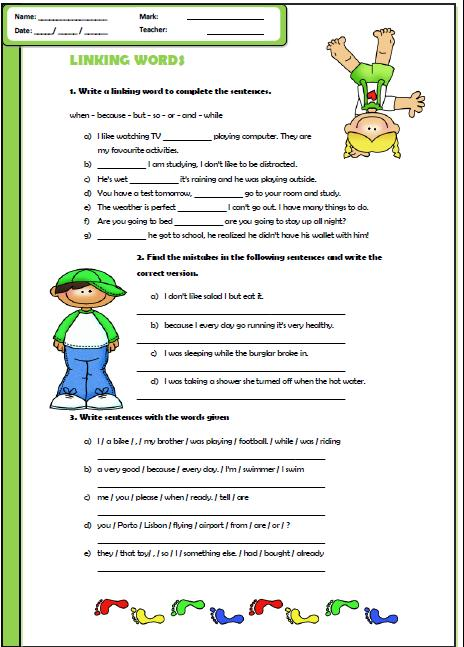 Connectors; Elementary Worksheet