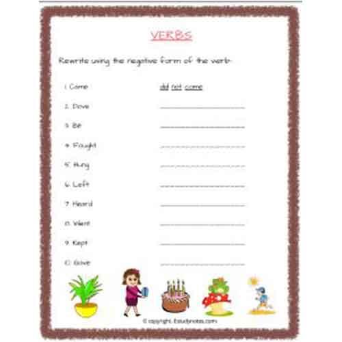 English Verbs Worksheet 2 Grade 2