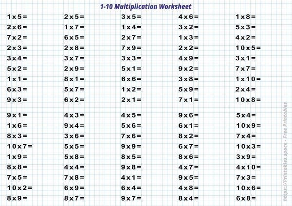 Multiplication Worksheets 1
