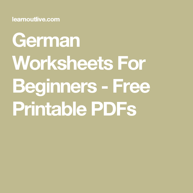 Free German Worksheets & Exercises For Beginners And Intermediate