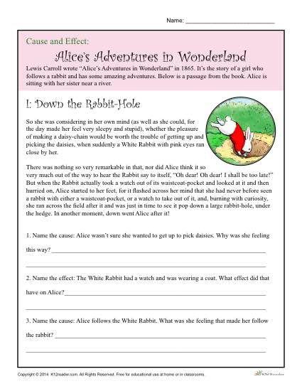 Cause And Effect Worksheet  Alice's Adventure In Wonderland