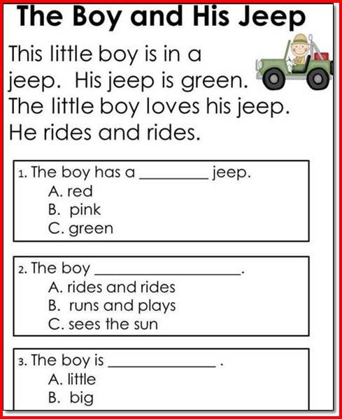 1st Grade Reading Comprehension Worksheet Worksheets For All