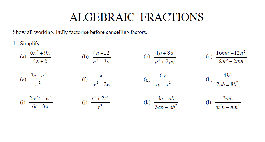 Simplify Algebraic Fractions Worksheet And Answers For Ks3 Maths