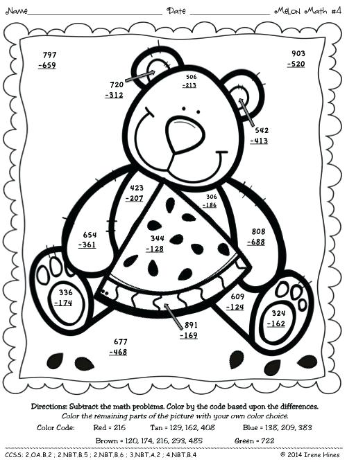 2 Digit Addition Coloring Worksheets Melon Math Three Digit