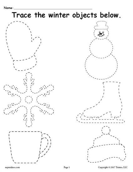 Free Printable Winter Tracing Worksheet