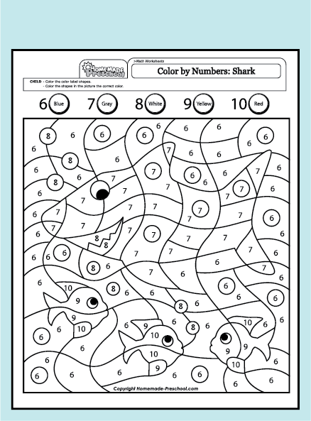 Worksheets Color By Numbers Shark 6 10 Color By Numbers Shark 6 10