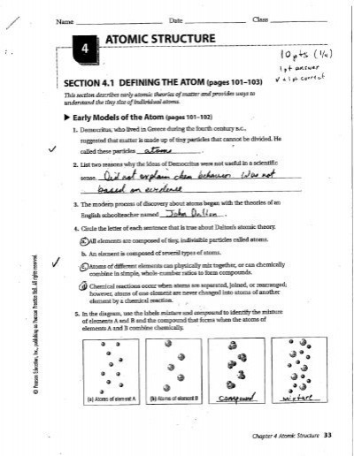 Section 4 1 Defining The Atom (pages 101