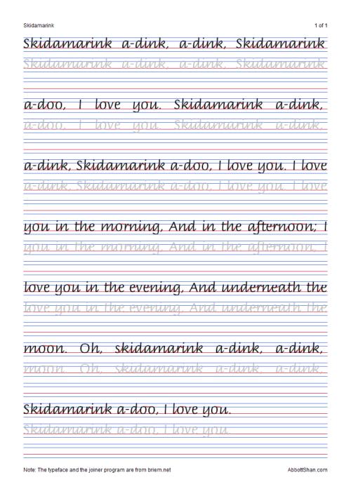 Skidamarinks Italic Handwriting Worksheets Multiple