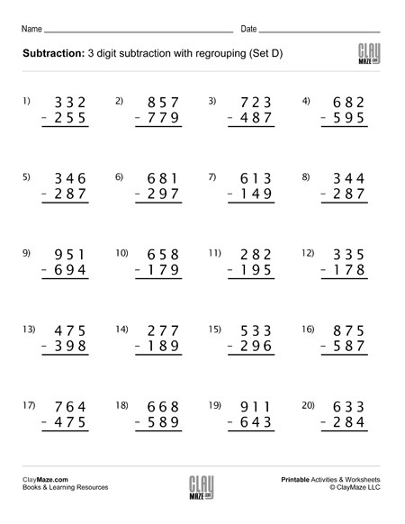 Subtraction Worksheet – 3 Digit Subtraction With Regrouping (set D