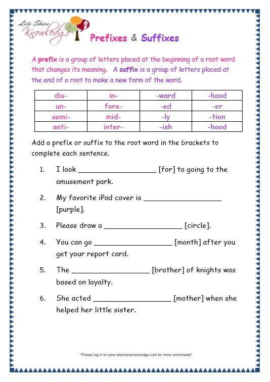 3rd Grade Prefix Worksheets