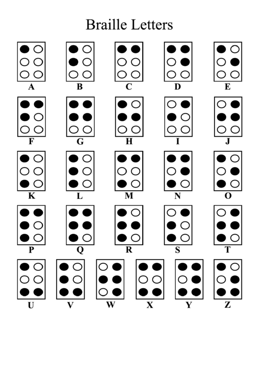 Free Printable Braille Alphabet Chart Template!