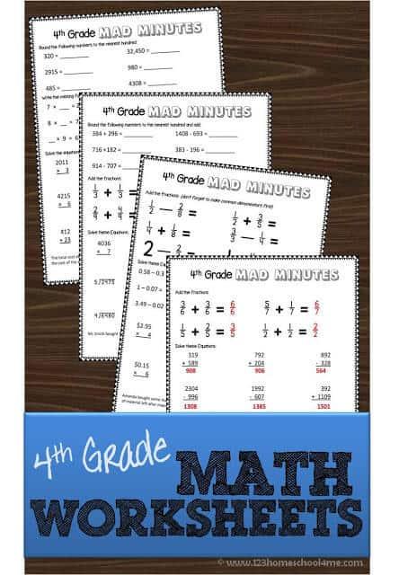 Printable 4th Grade Math Worksheets