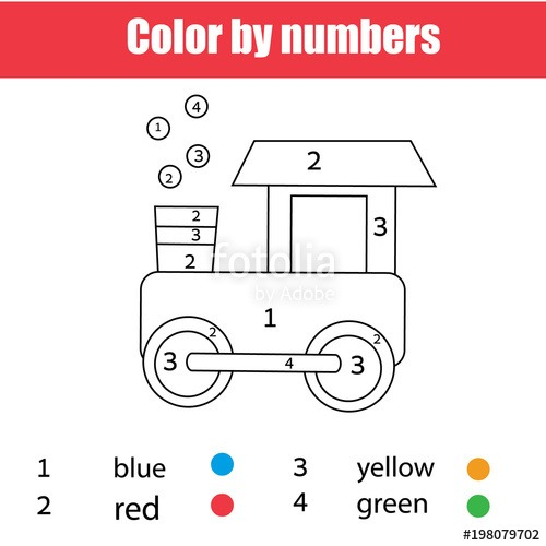 Coloring Page With Toy Train  Color By Numbers, Printable