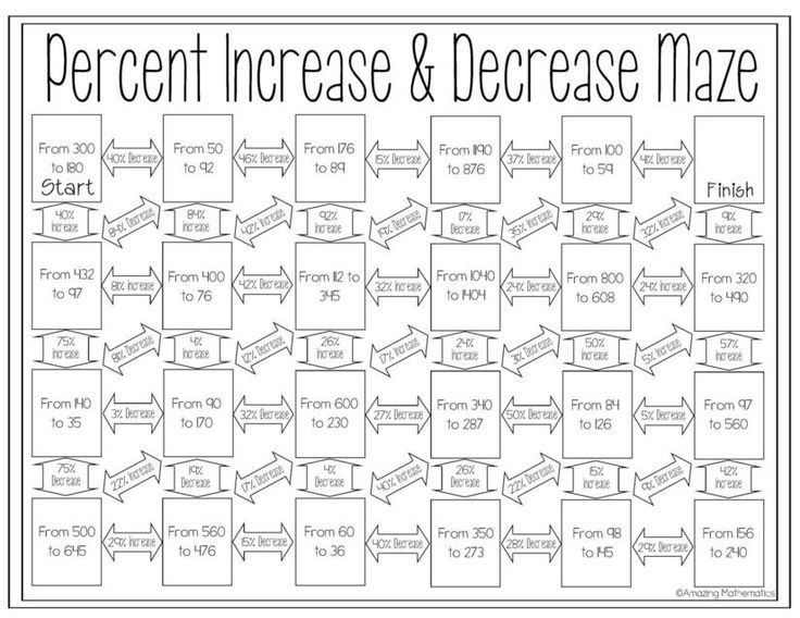 Percent Increase And Decrease Maze Worksheet