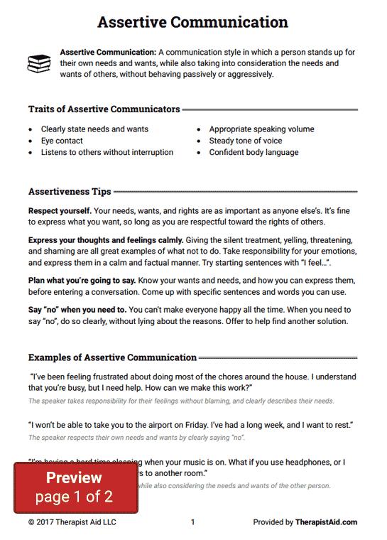 Assertive Communication (worksheet