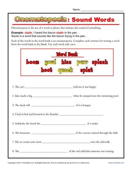 Onomatopoeia  Sound Words