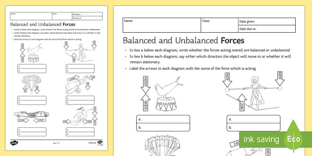 Balanced And Unbalanced Forces Homework Activity Sheet