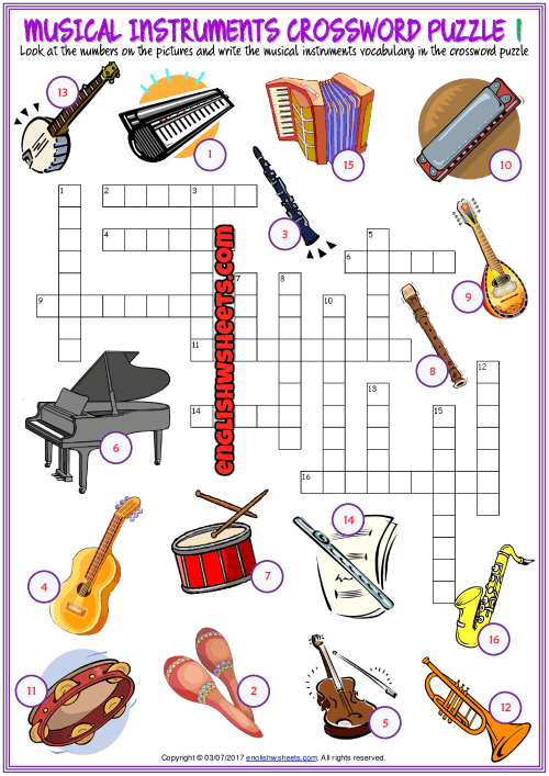 Musical Instruments Crossword Puzzle Esl Worksheets