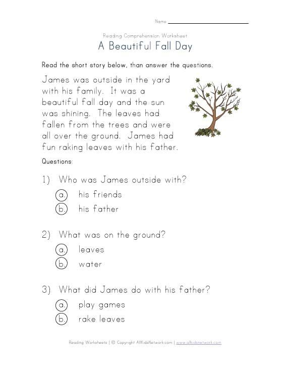 Fall Reading Comprehension Worksheet
