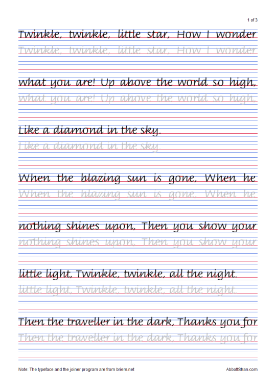 Twinkle, Twinkle, Little Star's Italic Handwriting Worksheets