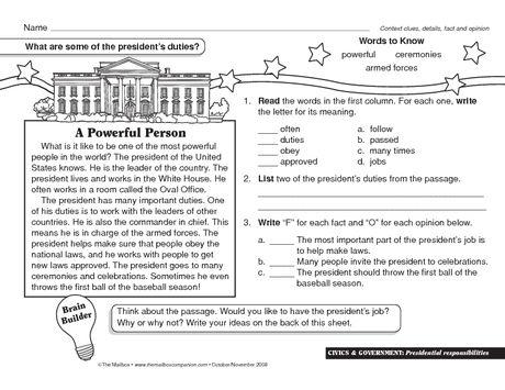 Presidents' Day Worksheet  Presidential Responsibilities