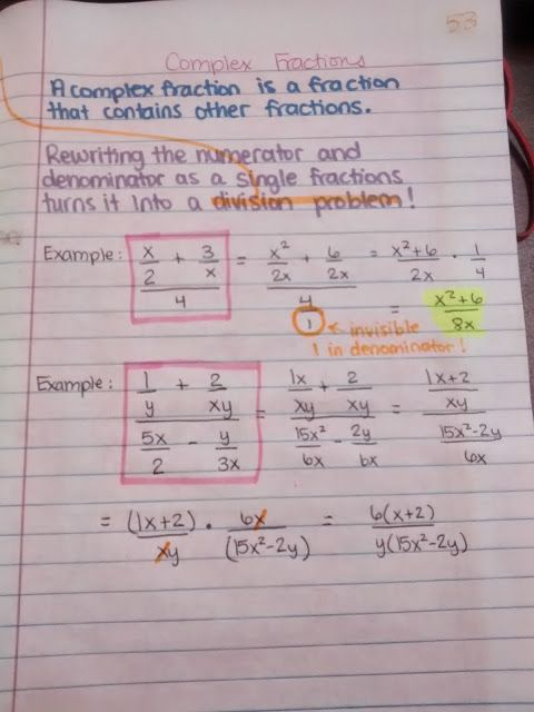 Complex Fraction Notes