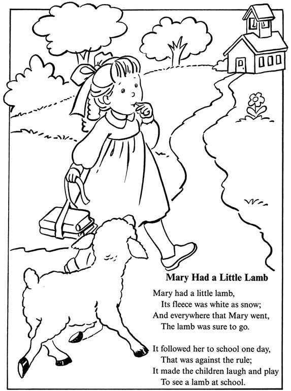 Mary Had A Little Lamb Nursery Rhyme Coloring Sheet