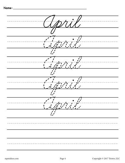 12 Free Months Of The Year Cursive Handwriting Worksheets