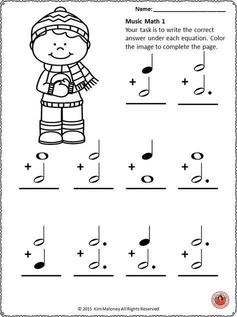 Winter Music Worksheets  24 Winter Music Math Pages