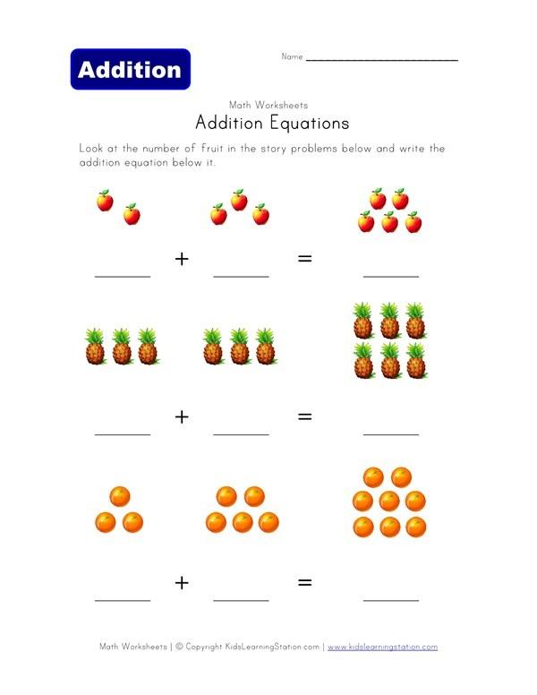 Addition Equations Worksheet