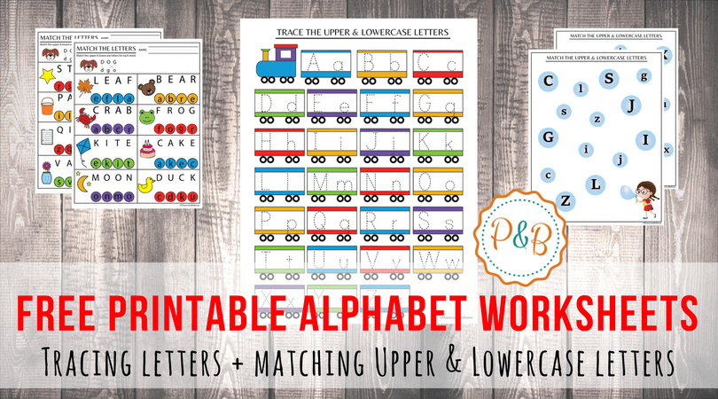Alphabet Worksheets Free Printable  Tracing & Matching Letters