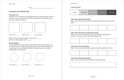 Art Worksheet  Shading Value Techniques In Pencil